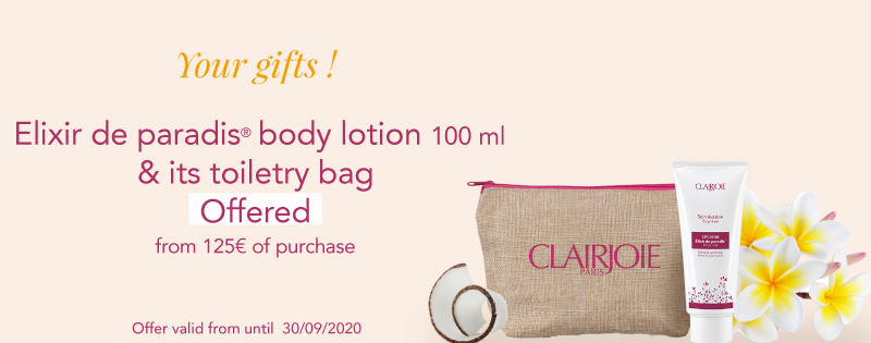 One organic body lotion and its toiletry bag offers from 125€ of purchase