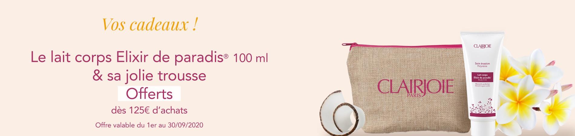 Un lait corps bio Coco vanille tiaré et sa jolie trousse de toilette offerts dès 125€ d'achats